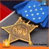 Подгонянное высоким качеством античное медаль формы звезды золота почетности
