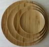 Plaque en bambou ronde pour le casse-croûte, assiette en bois de gâteau avec la seule texture