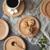 Bandeja redonda de la porción de madera sólida de la talla de encargo natural del color de Hongdao para el _E del alimento