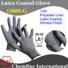 13G серый полиэстер трикотажные перчатки с серой латекса морщин покрытия / EN388: 3232