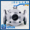 Tipo vávula de Didtek T de bola de la manera del manual 3 del acero inoxidable