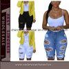 Les jeans lavés haute par éraflure de taille de femmes de mode court-circuite (T78649)