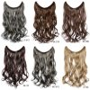15 colori 18  (45cm) nessun Clips Long Wavy Synthetic Hair One Piece Fish Line Hair Extension Women Flip in Hair Extensions