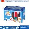 Congelador aberto da caixa do gelado de porta de vidro de deslizamento da parte superior