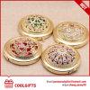 Miroir cosmétique à gros manche en gros ronde en or avec décoration en diamant