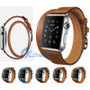 Nuovo adattatore di Watchwith della fascia del cuoio del braccialetto di giro del doppio della fascia del cuoio genuino per la vigilanza del Apple