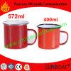 Taza modificada para requisitos particulares historieta pintada roja del esmalte del acero de carbón de la etiqueta