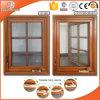 Amerikanisches Flügelfenster-Fenster mit faltbarem reizbarer Griff-plattiertem festem Eichen-Aluminiumholz, volles geteiltes helles Gitter-Fenster