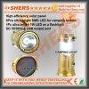 6 sortie campante actionnée solaire rechargeable de la lampe-torche USB de la lanterne 1W DEL de DEL