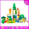 Blocs en bois de jouet de gosses de configuration animale drôle bon marché en gros de 70 parties pour l'éducation W13b023