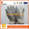 De witte Op zwaar werk berekende Handschoen van het Canvas van de Stip (DCD203)