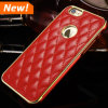 Cell de lujo Phone Leather Back Cover Caso + Aluminum Beauty Caso para el iPhone 6 Plus