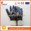Голубая перчатка безопасности запястья руки Knit вкладыша хлопка нитрила польностью покрытая (DCN406)
