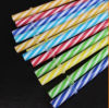 Paja plástica rayada coloreada plástica dura al por mayor del color de la cuerda de rosca