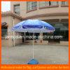 Zon die de Witte Blauwe Paraplu van het Strand vouwen