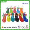 Сандалия цветастого кристаллический студня PVC ботинка пластичного плоская (RW20578A)