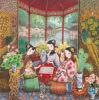 Van de Katoenen van de Kunst Giclee de Schilderende Meisjes van uitstekende kwaliteit van het Decor van het Huis Basis van het Canvas/van de Zijde 50*50cm Bmcp01016
