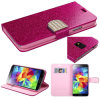 Bling Leather Wallet Caso para Samsung S5 I9600