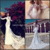 Мантия H14661 платья венчания оболочки шнурка Bridal втулок мантии длинних белая Bridal