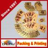 Paquet neuf des cartes de jeu en plastique de tisonnier de placage de clinquant d'or 24k