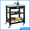 Horizontal Pressed Natural Solid Bamboo Kitchen Island Cart Trolley