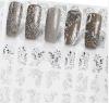 серебряный стикер ногтя стикеров искусствоа ногтя переноса воды цветка 3D