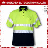 Camisa de polo verde fluorescente por atacado da segurança do desgaste do trabalho (ELTSPSI-3)