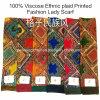 100% dickflüssiges heißes Verkaufs-Form-Dame-ethnisches Plaid gedruckter Schal