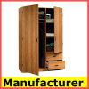 Wardrobe de madeira do quarto da melamina moderna barata por atacado do projeto de Kd