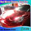Почищенный щеткой красный хром оборачивающ винил с каналами воздуха