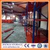 Warehouse Wood Panel, Blue and Orange Powder Coated Steel Shelving
