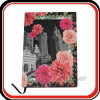 Бумага цветков покрыла рециркулированную бумажную тетрадь