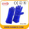 14 het  Blauwe Gespleten Leer die van de Zweep de Industriële Handschoenen van het Werk van de Veiligheid van de Hand (11113) lassen