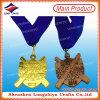 小さい正方形カラーリボンが付いている満ちる金属メダル