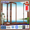 Bi de alumínio Folding Door Wood Color com Single Double Glass