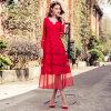 Ricamo della garza del pannello esterno del vestito che cuce la seta rossa del germoglio/vestito lungo dal merletto