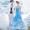 Type neuf A - ligne robe de mariage colorée de destination de spaghetti avec l'Applique
