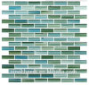 Rip Curl Green und Blue Hand-Painted Glass Mosaic Subway Tile