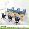 Lineair Houten Bureau 6 het Werkstation van Zetels voor Werknemers