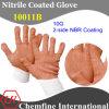 10g белый полиэстер / хлопок трикотажные перчатки с 2-х сторон Браун NBR покрытием (10011B)