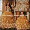 Vestido Q26754 do vestido de esfera do ouro dos vestidos de Quinceanera de Organza