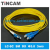 LC-Sc SM 3.0m m, 2.0m m, 0.9m m, 9/125um Fiber Optic Patch Cord, Cat5 UTP Cable