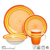 16PCS met de hand geschilderde Oranje Ceramische Vastgestelde Klassiek van het Diner