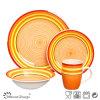 insieme di pranzo di ceramica arancione dipinto a mano 16PCS classico