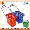 Le panier à provisions en plastique de supermarché coloré de mémoire avec le roulement roule (Zhb92)