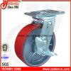 6 Inch Red PU Swivel Caster mit Brake