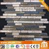 金ペーパーガラスモザイクおよび黒い樹脂のモザイク(M855102)