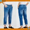 レディースは高いウエストの方法ジーンズの青い伸張のデニムのジーンズを設計する