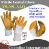 Блокировка перчатка с антимикробными Orange Нитриловое покрытие & Open Back & вязать наручные / EN388: 4121 (YS-091-ААО)