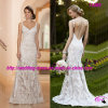 Lace lleno Sexy Mermaid A - línea Bridal Dress con Open Back